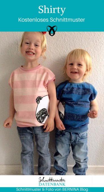 Shirty Kindershirt Jerseyshirt Nähen für Kinder Babyshirt Sommershirt kostenlose Schnittmuster Gratis-Nähanleitung