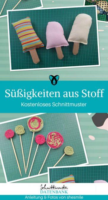 Süßifkeiten aus Stoff Kinderküche Kaufladen Nähen für Kinder Spielzeug kostenlose Schnittmuster Gratis-Nähanleitung