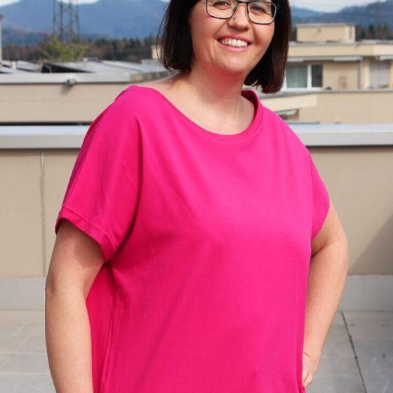 T Shirt Eva Sommershirt Kurzarmshirt Damenshirt Übergröße Oberteil Jersey kostenlose Schnittmuster Gratis-Nähanleitung