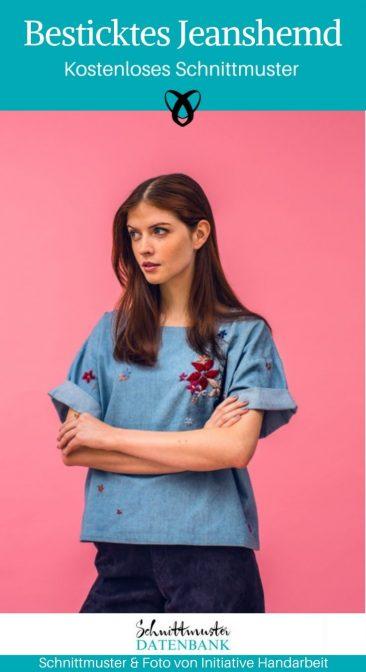 Besticktes Jeanshemd Damenhemd Damenbluse Oberteil kostenlose Schnittmuster Gratis-Nähanleitung
