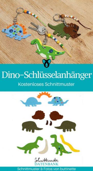 Dino Schlüsselanhänger Dinosaurier für Kinder praktisches Schlüsselbund kostenlose Schnittmuster Gratis-Nähanleitung