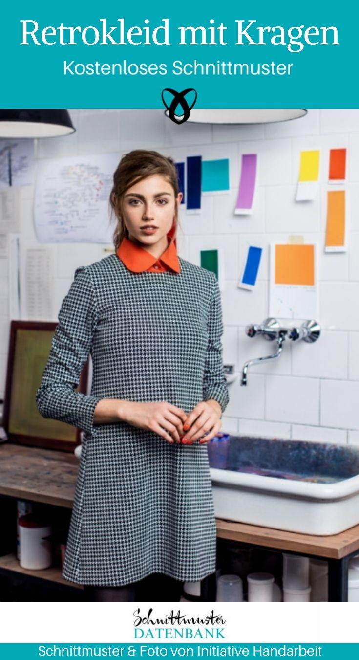 Retrokleid mit Wechselkragen Damenkleid Nähen für Frauen kostenlose Schnittmuster Gratis-Nähanleitung