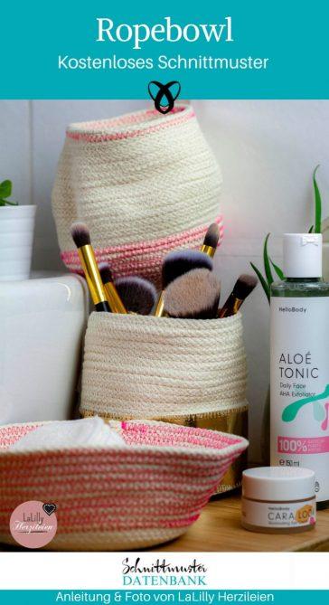 Ropebowl Korb aus Seil Nähen mit Seil Nähen für Zuhause kostenlose Schnittmuster Gratis-Nähanleitung