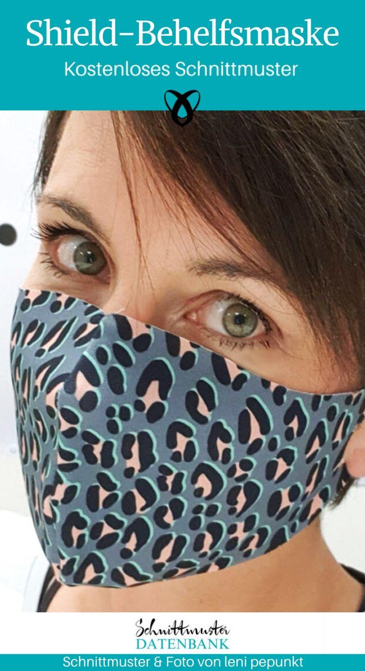 Shield-Behelfsmaske Corona Mundschutz Covid Mund-Nasen-Maske kostenlose Schnittmuster Gratis-Nähanleitung