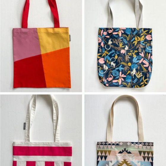 Shopper hoch 5 Einkaufstasche Einkaufsbeutel 5 Varianten Modelle kostenlose Schnittmuster Gratis-Nähanleitung