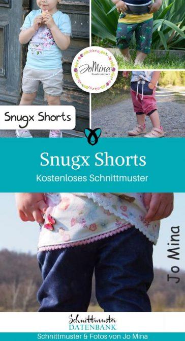 Snugx Shorts kurze Hose Sommerhose Jerseyhose kinder Nähen für Kinder kostenlose Schnittmuster Gratis-Nähanleitung