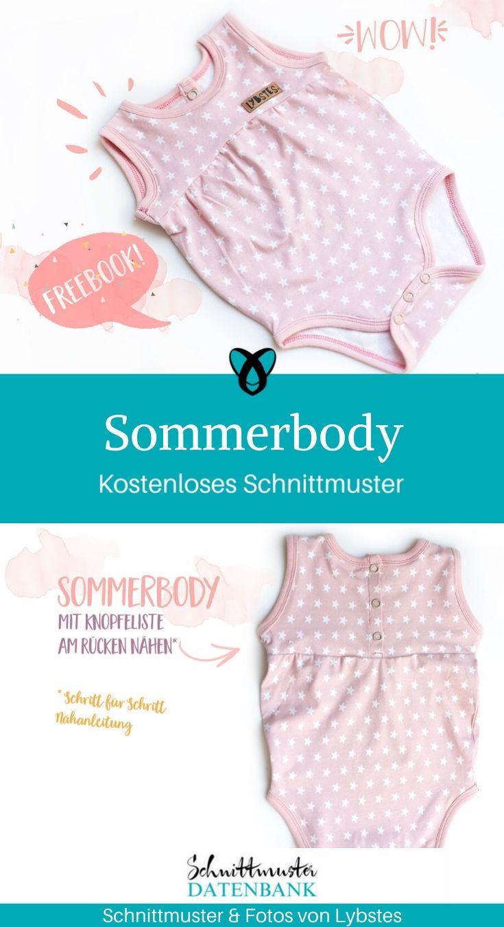 Sommerbody kurzer Body Sommerkleidung Baby kostenlose Schnittmuster Gratis-Nähanleitung