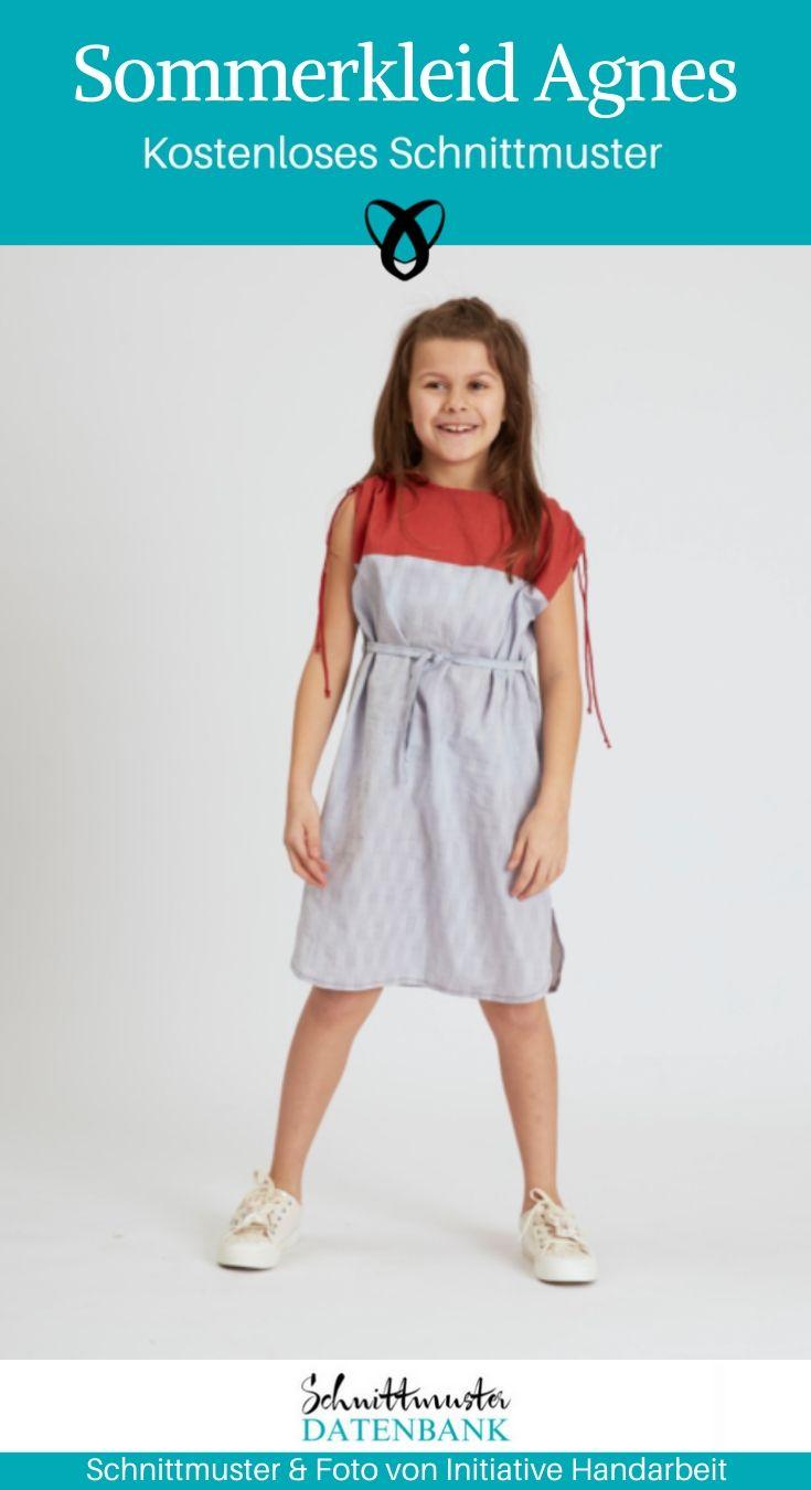 Sommerkleid Agnes Mädchenkleid Nähen für Kinder kostenlose Schnittmuster Gratis-Nähanleitung