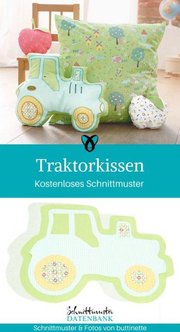 Traktorkissen Nähen für Kinder Dekoration Kinderzimmer kostenlose Schnittmuster Gratis-Nähanleitung Kissen