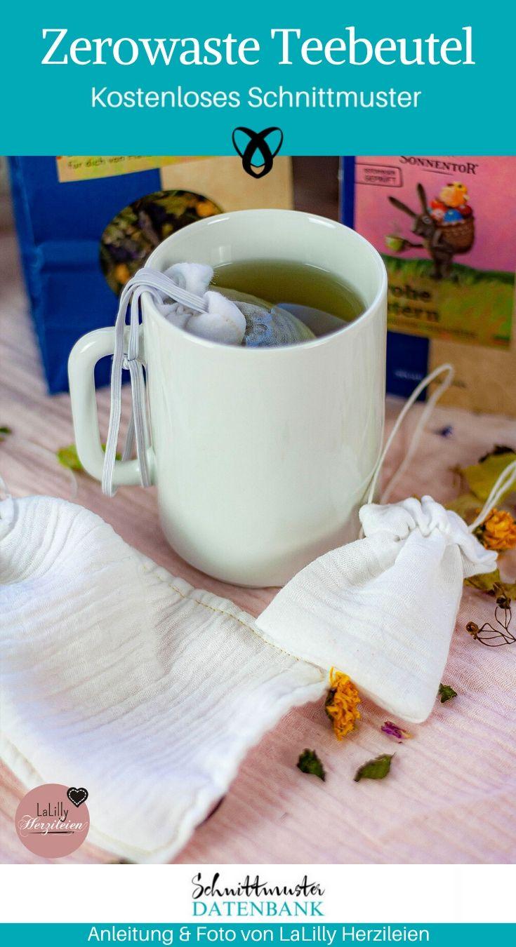 Zerowaste Teebeutel musselin Nachhaltigkeit Upcycling kostenlose Schnittmuster Gratis-Nähanleitung