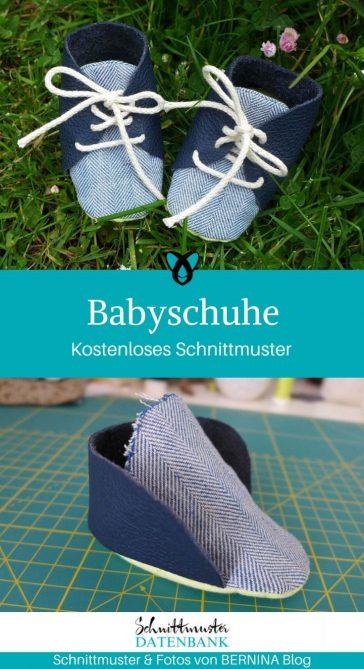 Babyschuhe Erstausstattung Nähen fürs Baby Geschenke zur Geburt kostenlose Schnittmuster Gratis-Nähanleitung