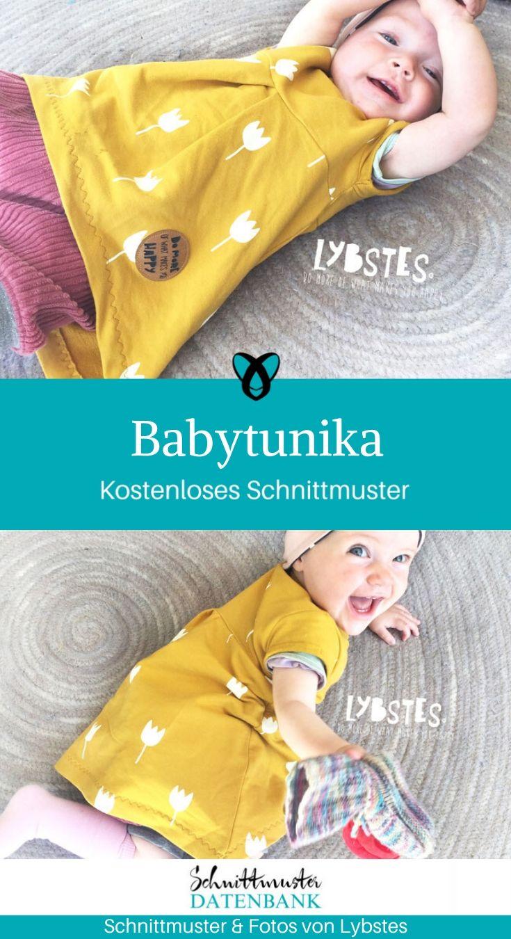 Babytunika Kinderkleidchen Trägerkleidchen Nähen für Babies kostenlose Schnittmuster Gratis-Nähanleitung Babymädchen