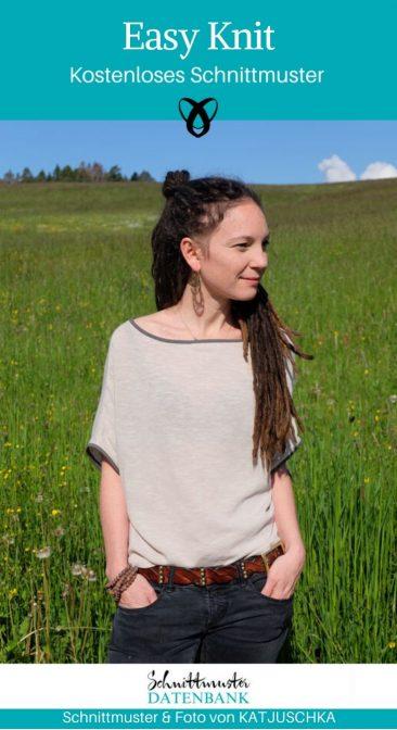Easy Knit Strickoberteil Nähen für Frauen Damenoberteil kostenlose Schnittmuster Gratis-Nähanleitung
