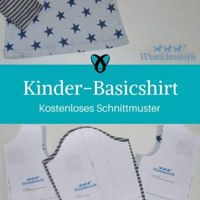 Kinder-Basicshirt Oberteil Kinder Shirt T-Shirt Longsleeve kostenlose Schnittmuster Gratis-Nähanleitung