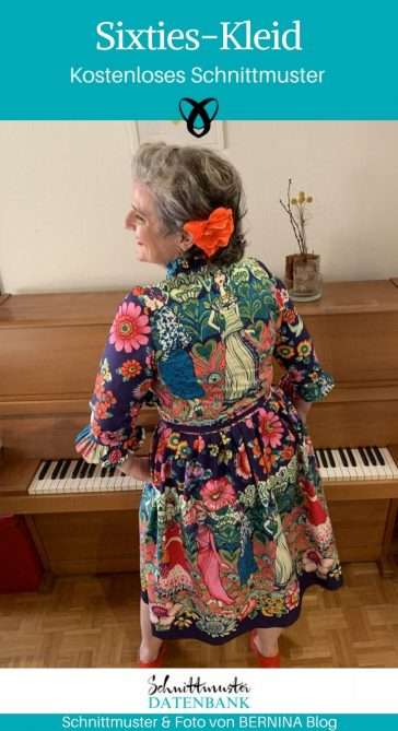 Sixties Kleid Damenkleid Sommerkleid Retrokleidung kostenlose Schnittmuster Gratis-Nähanleitung