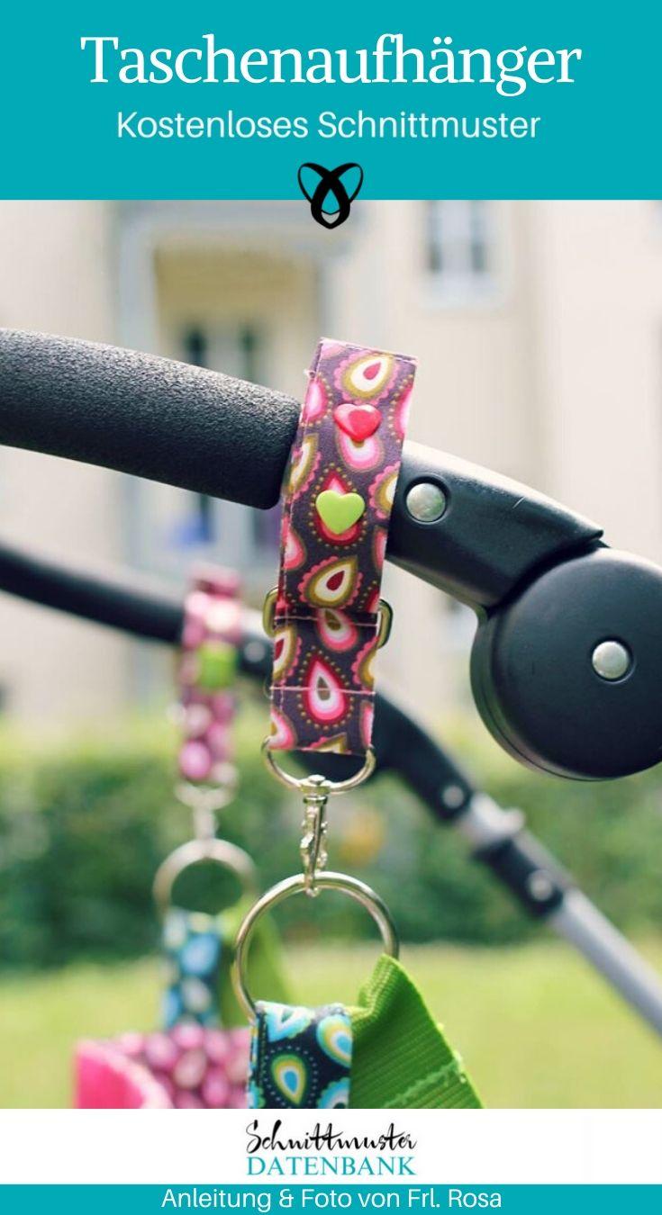 Taschenaufhänger Kinderwagen Wickeltasche Nähen fürs Baby Erstausstattung kostenlose Schnittmuster Gratis-Nähanleitung