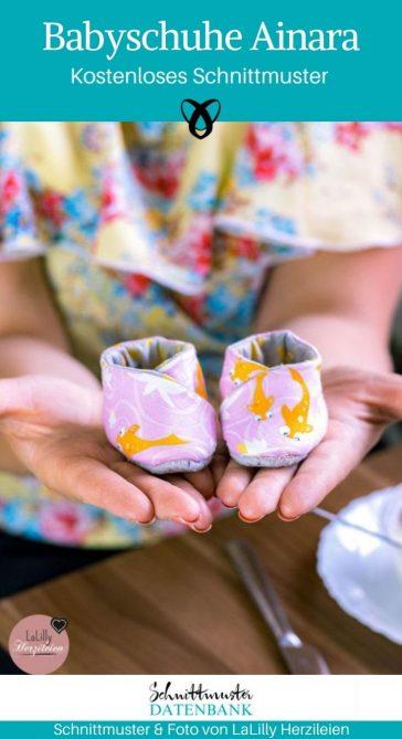 Babyschuhe Ainara Nähen für Babies Erstatusstattung Geschenke zur Geburt Wickeln kostenlose Schnittmuster Gratis-Nähanleitung