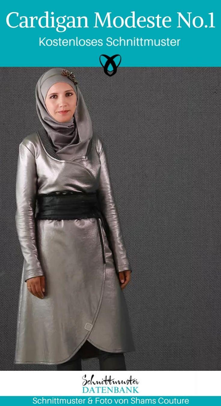 Cardigan Longpullover Jacke Mantel Nähen für Frauen Damenbekleidung kostenlose Schnittmuster Gratis-Nähanleitung