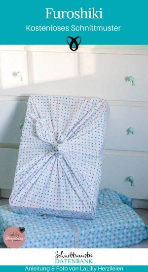 Furoshiki nachhaltige Geschenkverpackung aus Stoff kostenlose Schnittmuster Gratis-Nähanleitung
