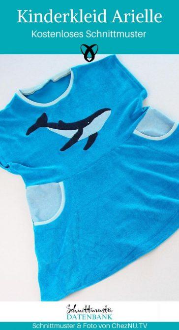 Kinderkleid Arielle einfaches Mädchenkleid Badekleid Mädchen Nähen für Kinder kostenlose Schnittmuster Gratis-Nähanleitung