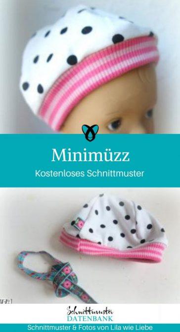 Minimüzz Puppenmütze Mütze Neugeborene Frühgeborene kostenlose Schnittmuster Gratis-Nähanleitung