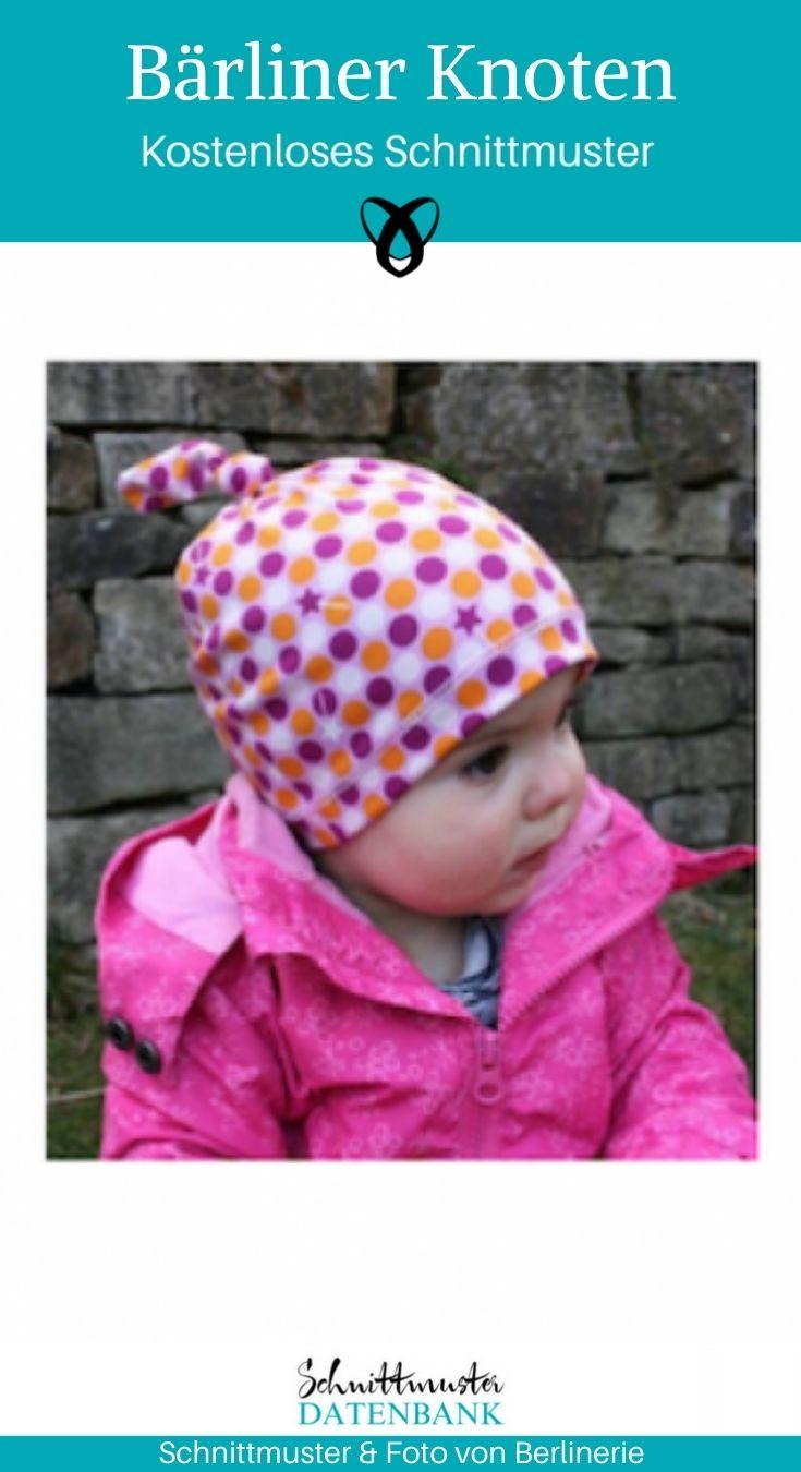 Bärliner Knoten Kindermütze Knotenmütze Jerseymütze kostenlose Schnittmuster Gratis-Nähanleitung