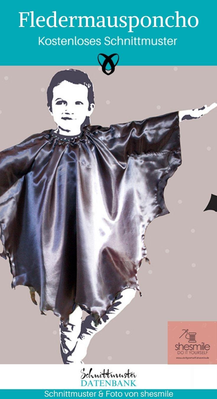 Fledermausponcho Fledermaus Verkleiden Verkleidung Halloween kostenlose Schnittmuster Gratis-Nähanleitung