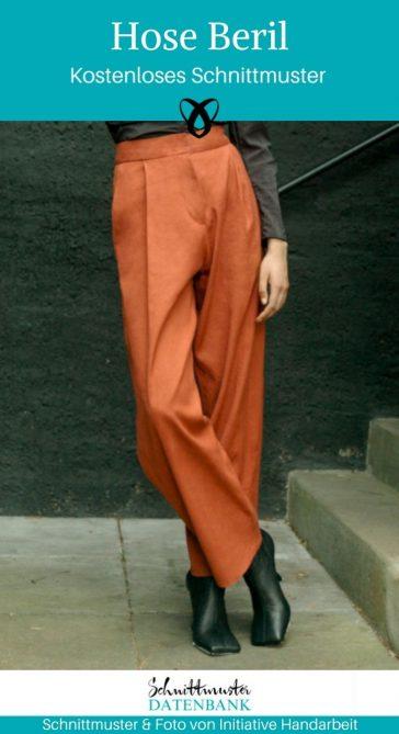 Hose Beril Damenhose weite Hose Bundfaltenhose Nähen für Frauen Marlenehose kostenlose Schnittmuster Gratis-Nähanleitung