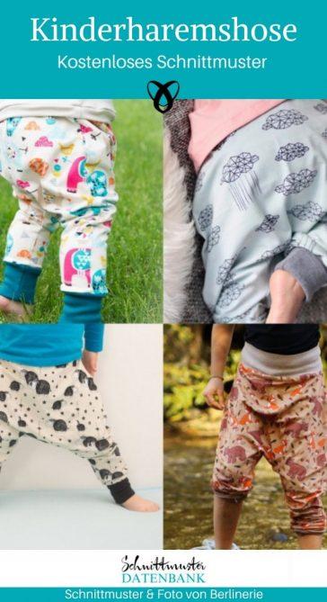 Kinderharemshose Nähen für Kinder Jerseyhose kostenlose Schnittmuster Gratis-Nähanleitung