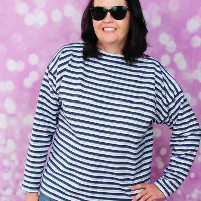 Langarmshirt Hannah Damenshirt jerseyshirt Oberteil Nähen für Frauen kostenlose Schnittmuster Gratis-Nähanleitung