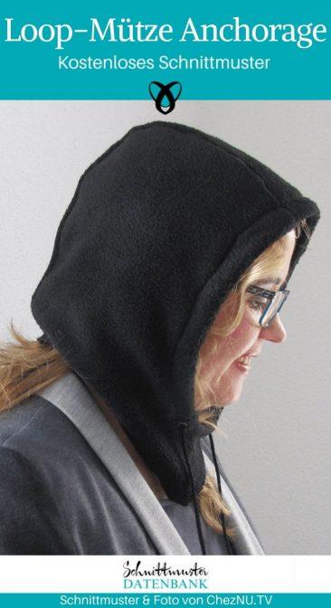 Loop Mütze Anchorage Kapuzenmütze Schal mit Kapuze Mützenschal kostenlose Schnittmuster Gratis-Nähanleitung