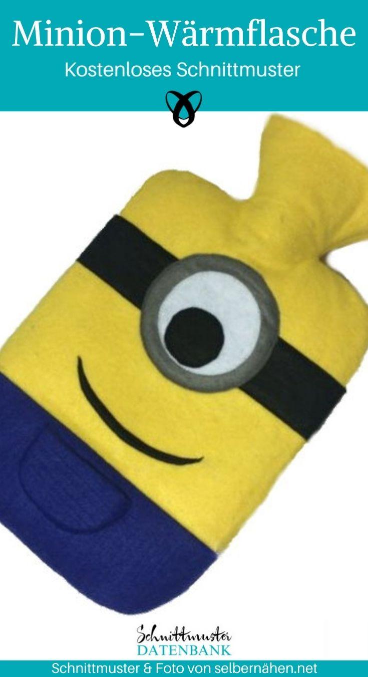 Minion Wärmflasche Wärmflaschenebezug Nähen für Kinder kostenlose Schnittmuster Gratis-Nähanleitung
