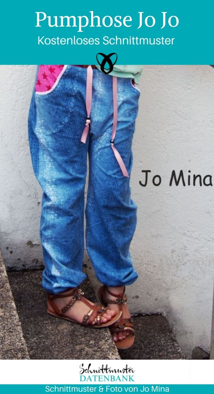 Pumphose Jojo Kinderhose bequeme Hose Jerseyhose kostenlose Schnittmuster Gratis-Nähanleitung