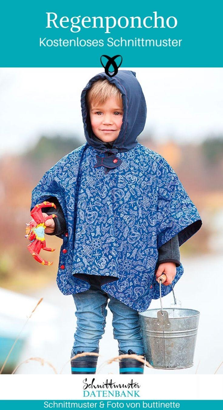 Regenponcho Kinder Regenkleidung Kinderkleidung Nähen für Kinder kostenlose Schnittmuster Gratis-Nähanleitung