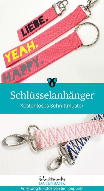 Schlüsselanhänger Gurtband einfache Nähprojekte schnelle Geschenke Nähen für Anfänger kostenlose Schnittmuster Gratis-Nähanleitung