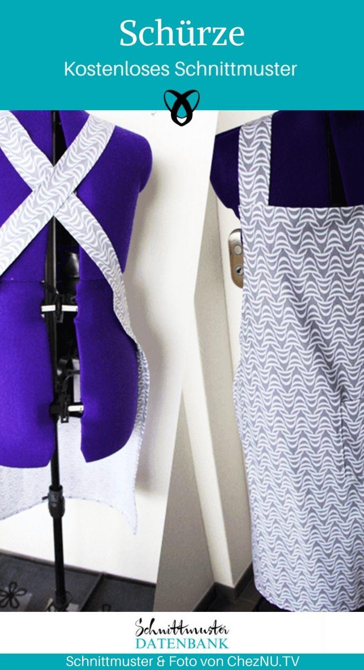 Schürze mit gekreuzten Bändern Küchenschürze Nähen für Zuhause Nähen für die Küche kostenlose Schnittmuster Gratis-Nähanleitung