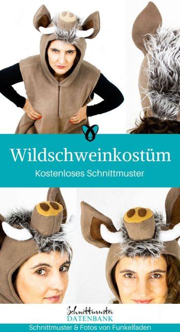 Wildschweinkostüm Verkleiden Verkleidung Faschin Halloween kostenlose Schnittmuster Gratis-Nähanleitung