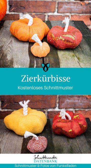 Zierkürbis Herbstdeko Kürbis Halloween kostenlose Schnittmuster Gratis-Nähanleitung