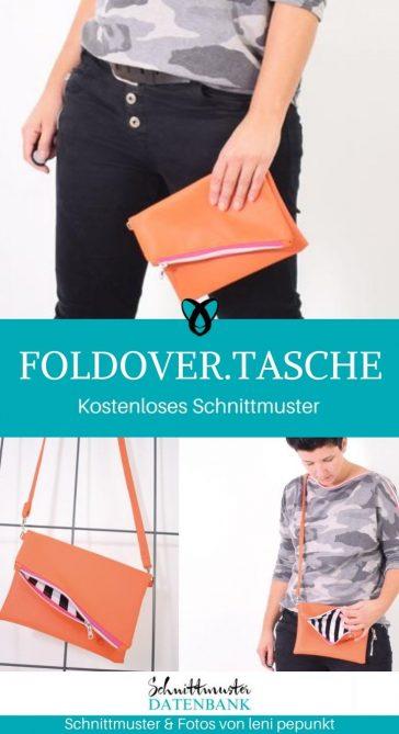 foldover tasche clutch handtasche schultertasche kostenlose Schnittmuster Gratis-Nähanleitung