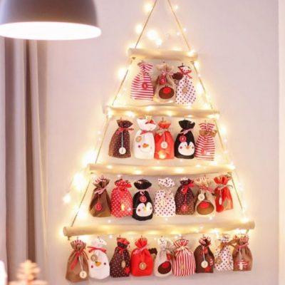 Adventskalender mit Säckchen Weihnachtskalender Weihnachten Advent Kinder Geschenke kostenlose Schnittmuster Gratis-Nähanleitung