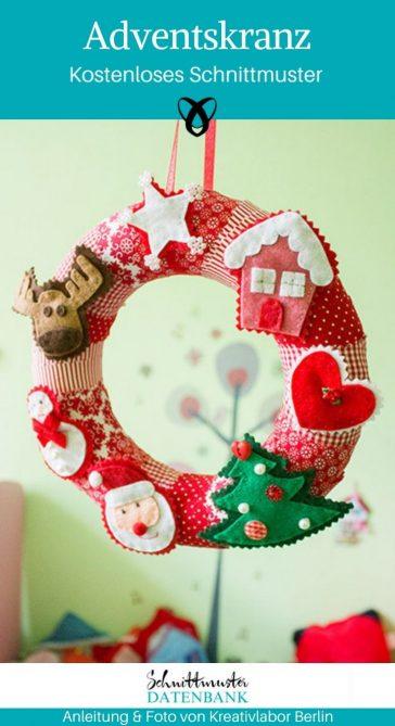 Adventskranz Weihnachtsdekoration Weihnachten Advent kostenlose Schnittmuster Gratis-Nähanleitung