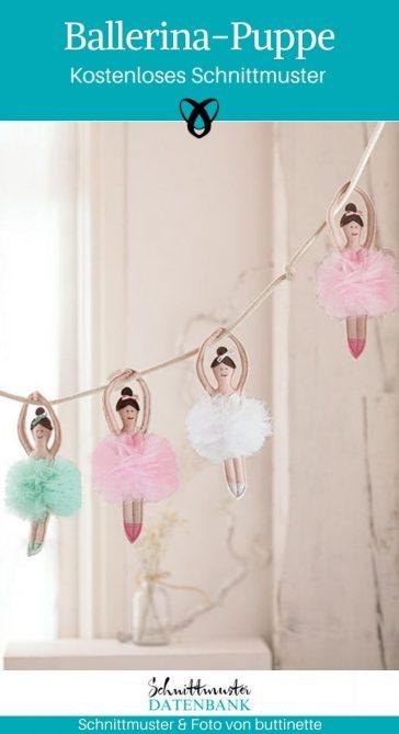 Ballerina-Puppe Ballett Spielzeug Mädchen Jungs Tutu kostenlose Schnittmuster Gratis-Nähanleitung