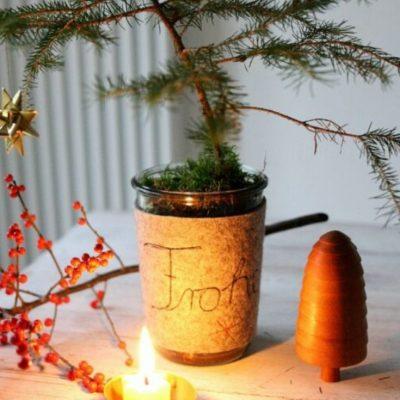 Filzmanschette Teelicht kleine Geschenke kostenlose Schnittmuster Gratis-Nähanleitung