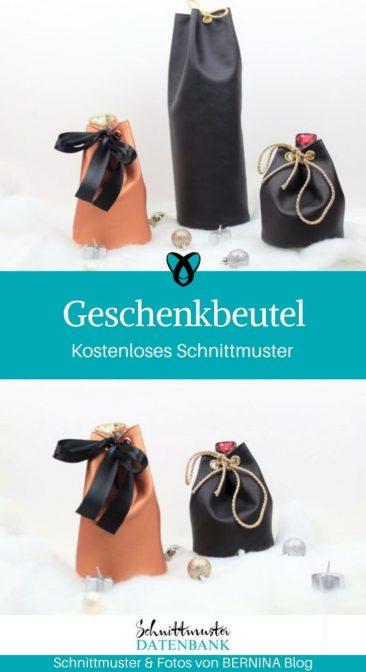 Geschenkbeutel Leder Weihnachten Verpackung kostenlose Schnittmuster Gratis-Nähanleitung