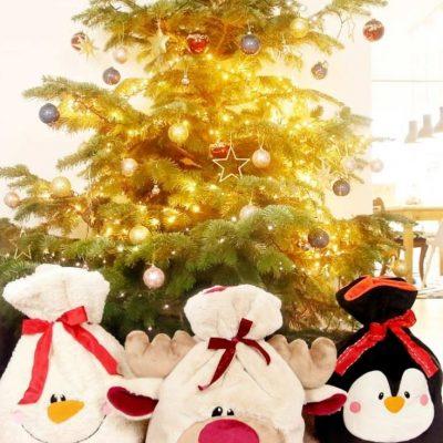 Geschenkverpackung Weihnachten Weihnachtssack für Kinder kostenlose Schnittmuster Gratis-Nähanleitung