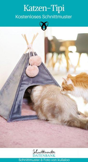 Katzen-Tipi Katzenzelt für Haustiere kleine Hunde kostenlose Schnittmuster Gratis-Nähanleitung