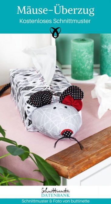 Mäuse-Überzug Taschentuchbox kleine Geschenke für zuhause kostenlose Schnittmuster Gratis-Nähanleitung