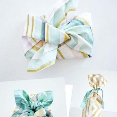 Nachhaltige Geschenkverpackung Weihnachten Geburtstag Stoffverpackung kostenlose Schnittmuster Gratis-Nähanleitung