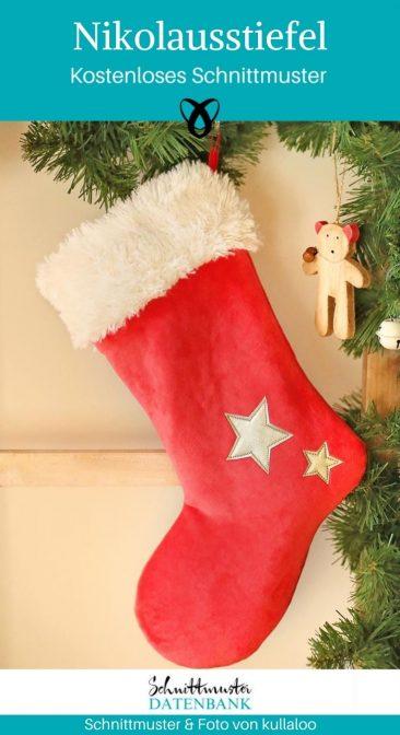 Nikolausstiefel weihnachtsmann Socke kleine Geschenke für Kinder Weihnachten kostenlose Schnittmuster Gratis-Nähanleitung