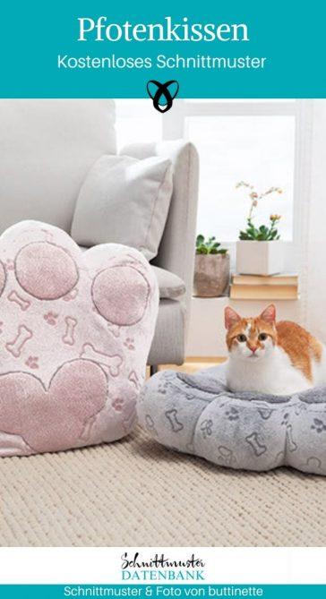Pfotenkissen Katzenkissen Tierkissen Nähen für Tiere Katze Hund kostenlose Schnittmuster Gratis-Nähanleitung